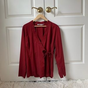 JapaneseWeekend red maternity blouse adjustable